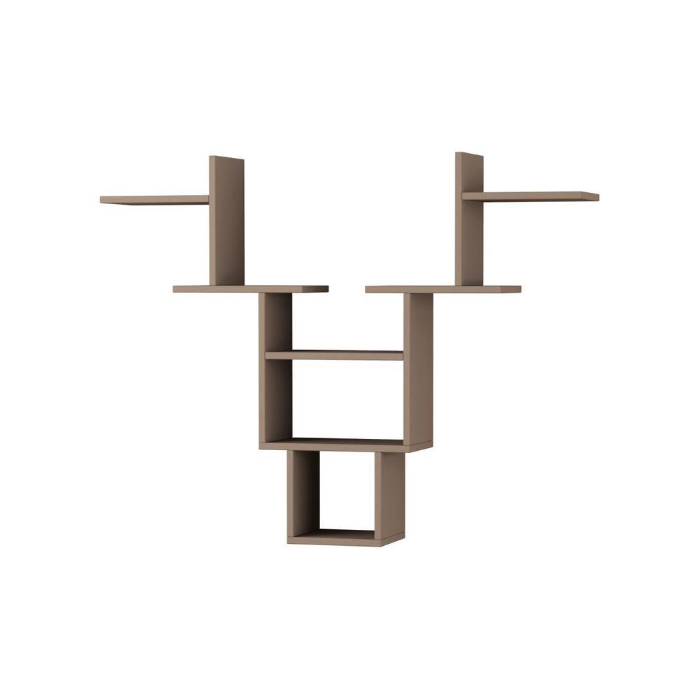 Ada Home Decor Whitetail Light Mocha Mid-Century Modern Wall Shelf DCRW2063