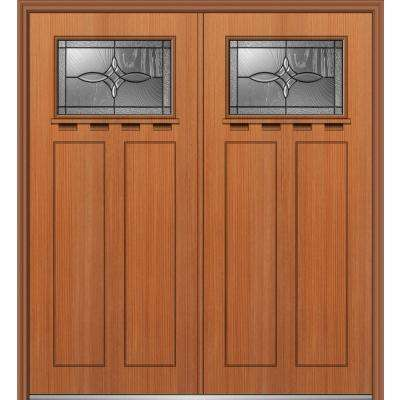64 in. x 80 in. Lenora Right-Hand Inswing 1/4-Lite Decorative Stained Fiberglass Fir Prehung Front Door with Shelf