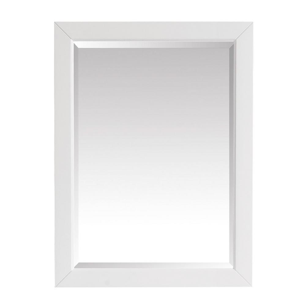 27.25 in. W x 32.00 in. H Framed Rectangular Beveled Edge Bathroom Vanity Mirror in White finish