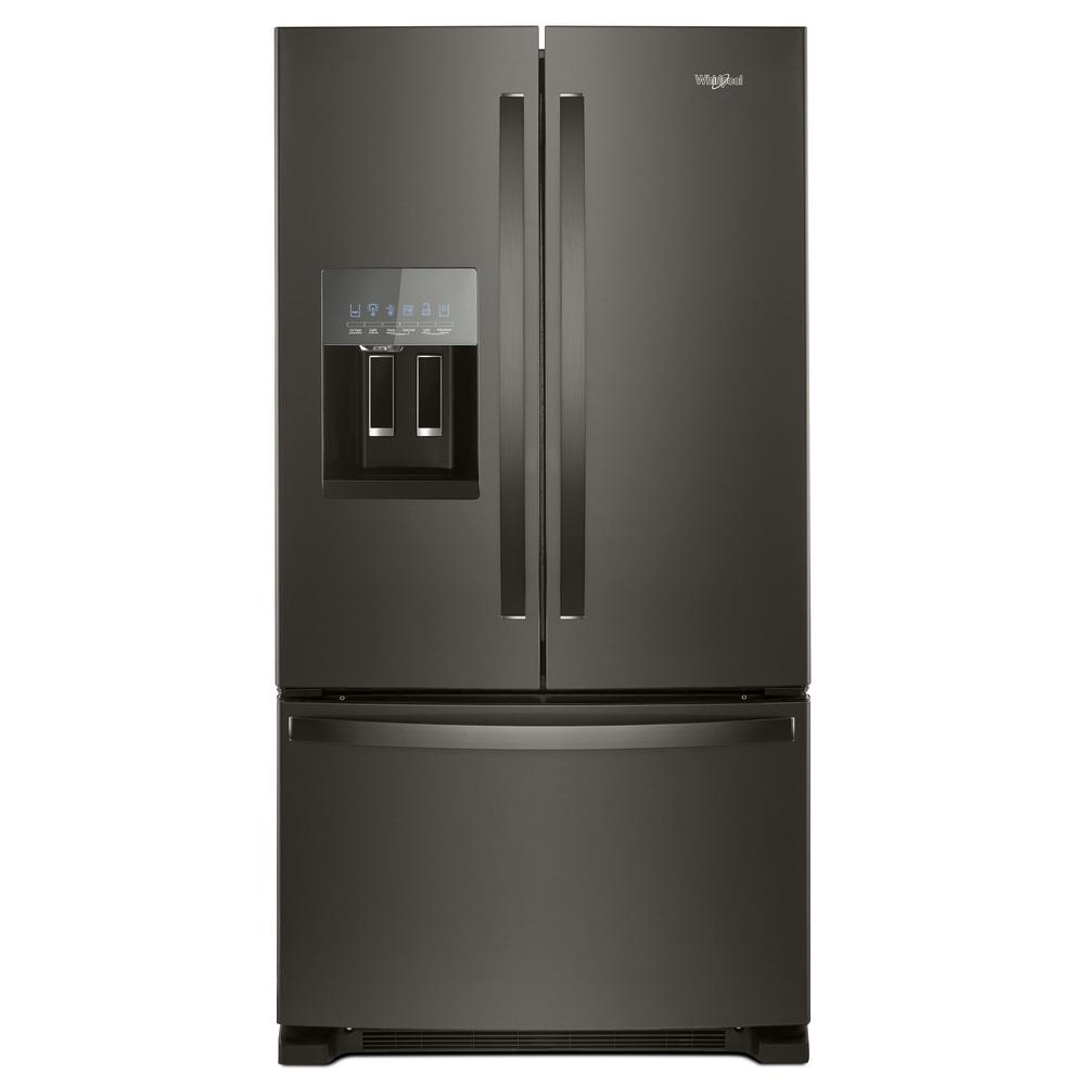 whirlpool 36 in w 25 cu ft french door refrigerator in. Black Bedroom Furniture Sets. Home Design Ideas