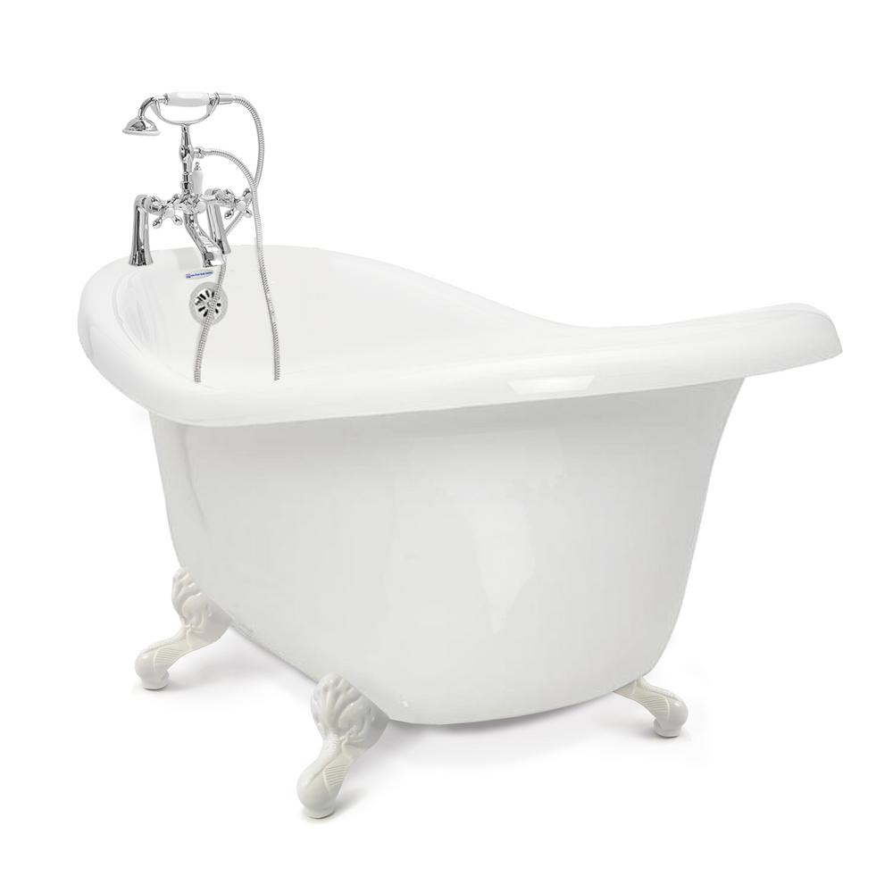 American Bath Factory Chelsea 60 in. Acrylic Slipper Clawfoot Bathtub Package in White with White Imperial Feet and Chrome Deck Mount Faucet