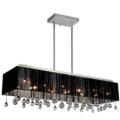 Water Drop 17-Light Chrome Chandelier with Black shade