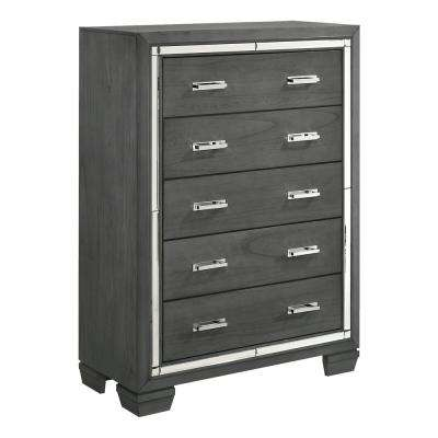 Kenzie 5-Drawer Grey Chest