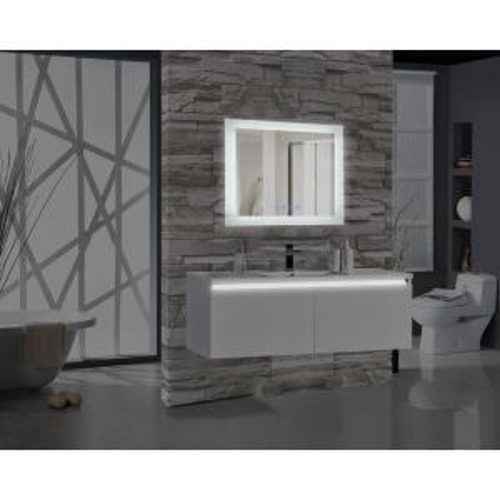 Encore BLU103 36 inch W x 27 inch H Rectangular LED Illuminated Bathroom Mirror with Bluetooth Audio Speakers by