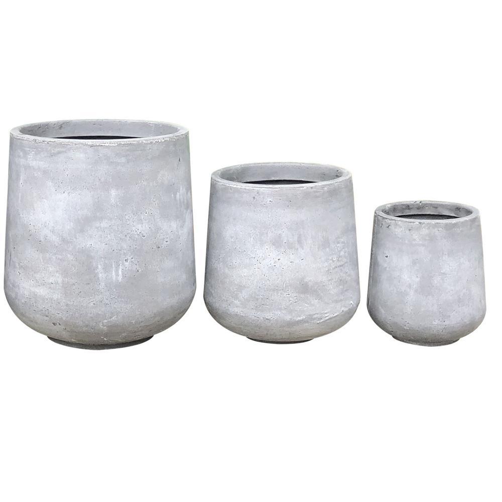 Lightweight Concrete Footed Tulip Light Grey Planter (Set of 3)