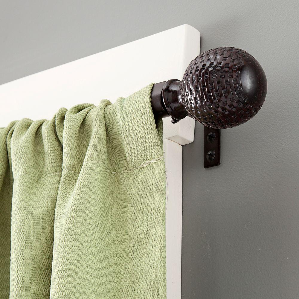 Kenney 28 In 48 Woven Ball 5 8 Standard Decorative Window Curtain Rod Weathered Brown 75798rem The Home Depot