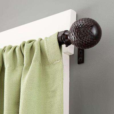 Woven Ball 90 - 130 in. Adjustable 5/8 in. Standard Decorative Window Curtain Rod in Weathered Brown