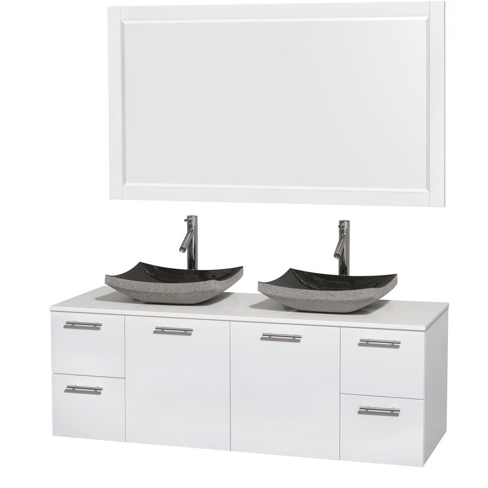 Wyndham Collection Amare 60 in. Double Vanity in Glossy White with Solid-Surface Vanity Top in White, Granite Sinks and 58 in. Mirror