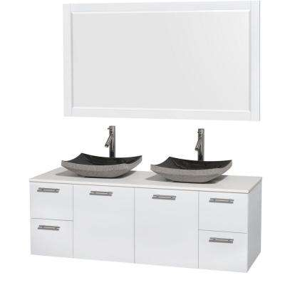 Amare 60 in. Double Vanity in Glossy White with Solid-Surface Vanity Top in White, Granite Sinks and 58 in. Mirror