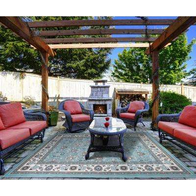 Somerset Aqua 8 ft. x 10 ft. Indoor/Outdoor Area Rug