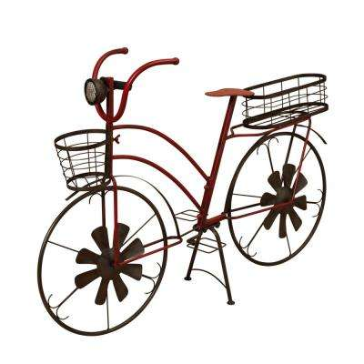37 in. Long Solar Lighted Metal Antique Bicycle Plant Stand with Wind Spinners