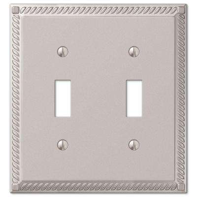 Georgian 2 Toggle Wall Plate - Satin Nickel Cast