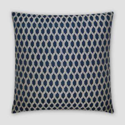 Reel It In Navy Feather Down 18 in. x 18 in. Standard Decorative Throw Pillow