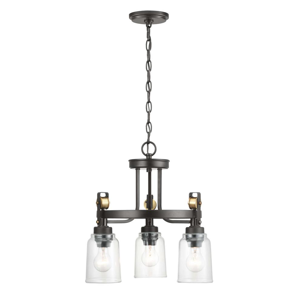HomeDecoratorsCollection Home Decorators Collection Knollwood 3-Light Antique Bronze Chandelier with Vintage Brass Accents and Clear Glass Shades