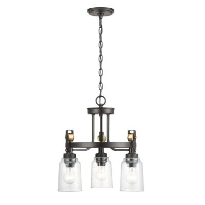 Knollwood 3-Light Antique Bronze Chandelier with Vintage Brass Accents and Clear Glass Shades