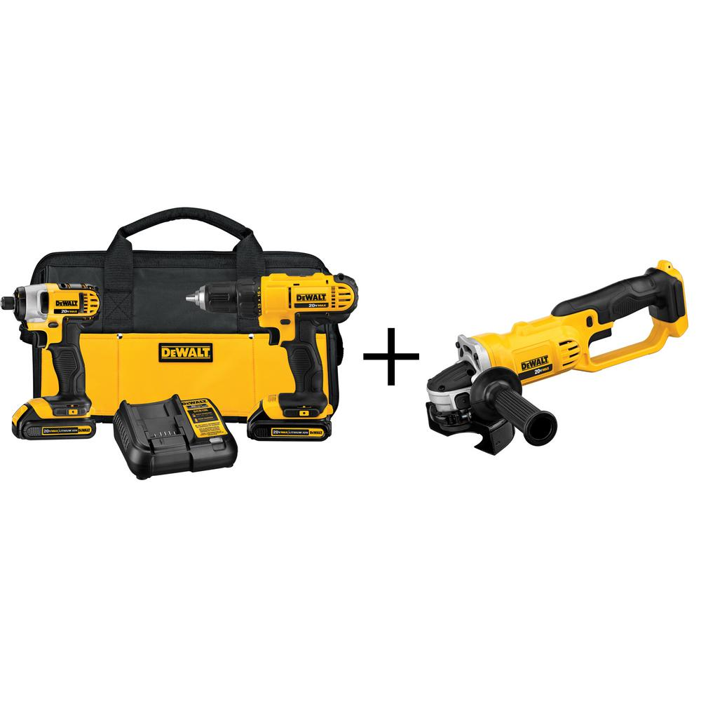 DEWALT 20-Volt MAX Lithium-Ion Cordless Combo Kit (2-Tool) with Free 4-1/2 in. Cordless Grinder (Tool-Only)