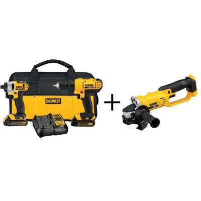 20-Volt MAX Lithium-Ion Cordless Combo Kit (2-Tool) with Bonus 4-1/2 in. Cordless Grinder (Tool-Only)