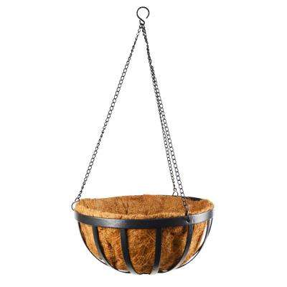 Solstice 12 in. Black Metal Coconut Hanging Basket
