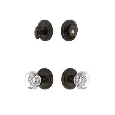 Circulaire Rosette 2-3/4 in. Backset Timeless Bronze Chambord Crystal Door Knob with Single Cylinder Deadbolt