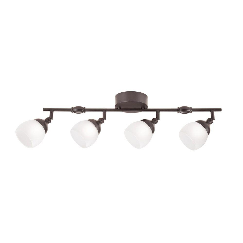 Hampton Bay 4 Light Bronze Dimmable Fixed Track Lighting Kit With Straight Bar Frosted Gl