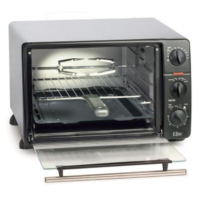 Platinum 6-Slice Black and Stainless Steel Toaster Oven Broiler