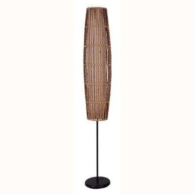 62 in. Rattan Natural Floor Lamp