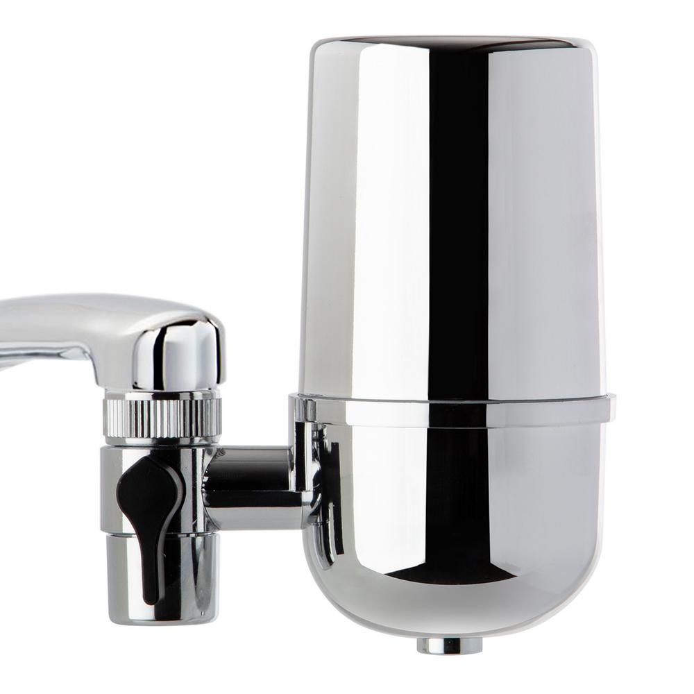 ISPRING DF1 500 Gal. Faucet Mount Water Filtration System with Chrome Finish, BPA Free