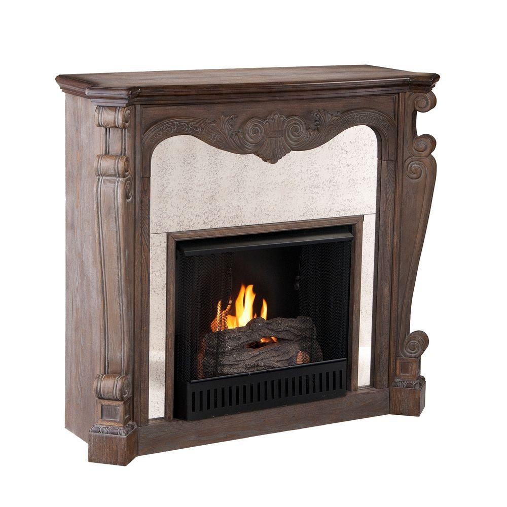 Southern Enterprises Arturo 45 in. Gel Fuel Fireplace in Distressed Burnt Oak-DISCONTINUED