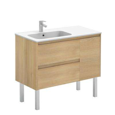 35.6 in. W x 18.1 in. D x 32.9 in. H Bathroom Vanity Unit in Nordic Oak with Vanity Top and Basin in White