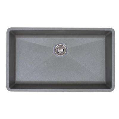Precis Super Undermount Granite 32 in. Single Bowl Kitchen Sink in Metallic Gray