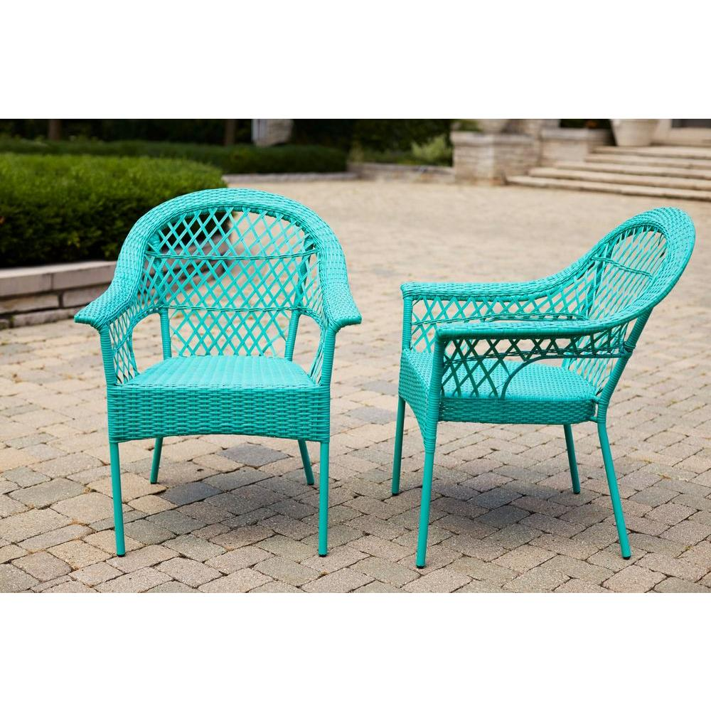 Wonderful Hampton Bay Haze Stacking Patio Chair (2 Pack)