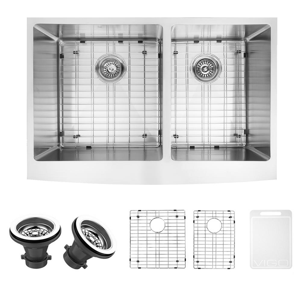 VIGO Farmhouse Apron Front Stainless Steel 33 in. Double Basin Kitchen Sink with Grid and Strainer