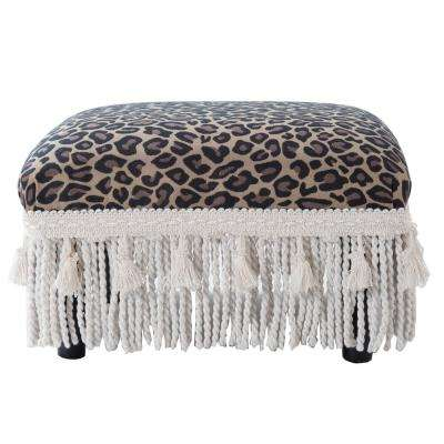 Fiona Brown and Beige Footstool