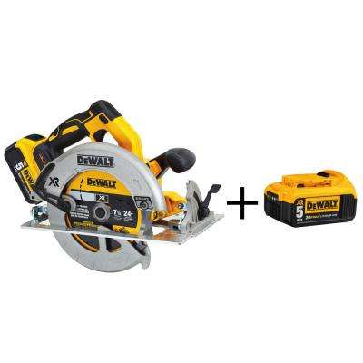 20-Volt MAX XR Lithium-Ion 7-1/4 in. Cordless Circular Saw w/ Bonus 20-Volt 5.0Ah Battery