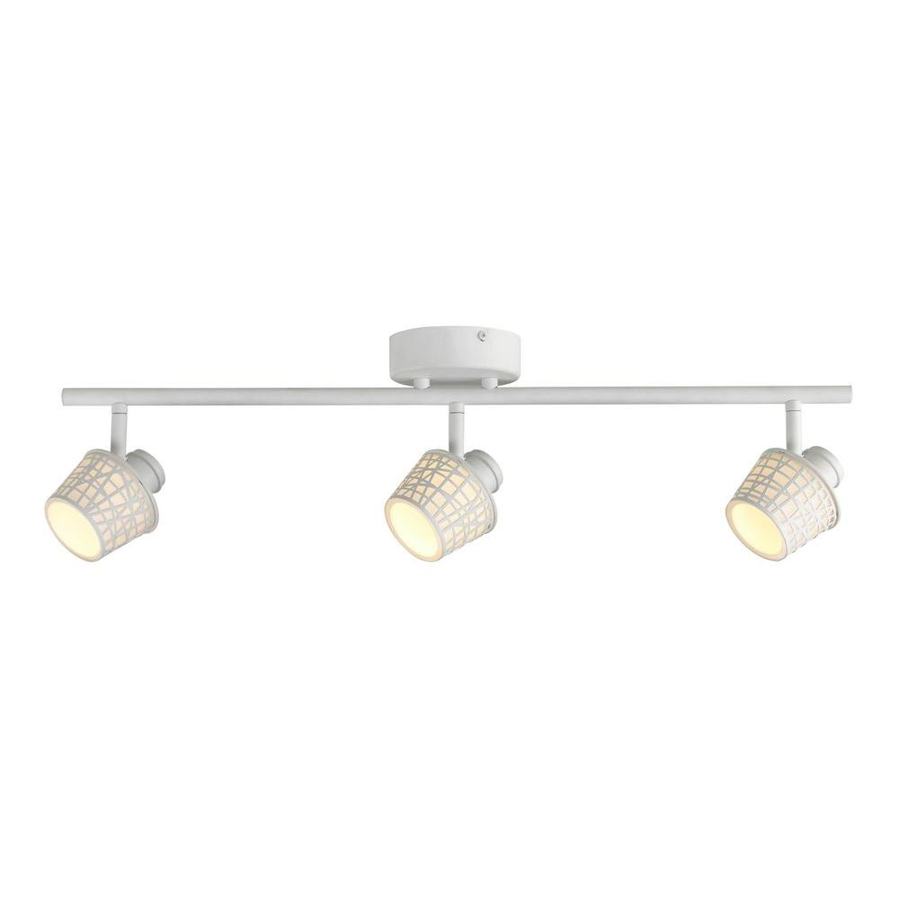 Hampton Bay 3-Light LED Convertible Basket Glass Shade Directional Track Lighting Fixture This Commercial Electric LED Track Lighting fixture comes with everything you need to get up and running. It provides an abundance of light and sophistication to your interior space. It features multi-directional lamp heads to provide light to difficult places where light does not reach. Use it with or without the decorative shade basket for a customized look. Use in kitchens, hallways, bathrooms, etc. Ceiling or wall mountable.