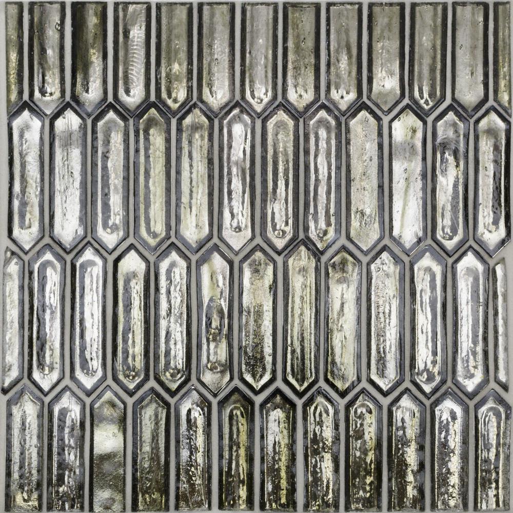 Fargin Platinum Moss Elongated Hexagon 12 in. x 10 in. x 7mm Polished Glass Mosaic Tile (0.82 sq. ft.)