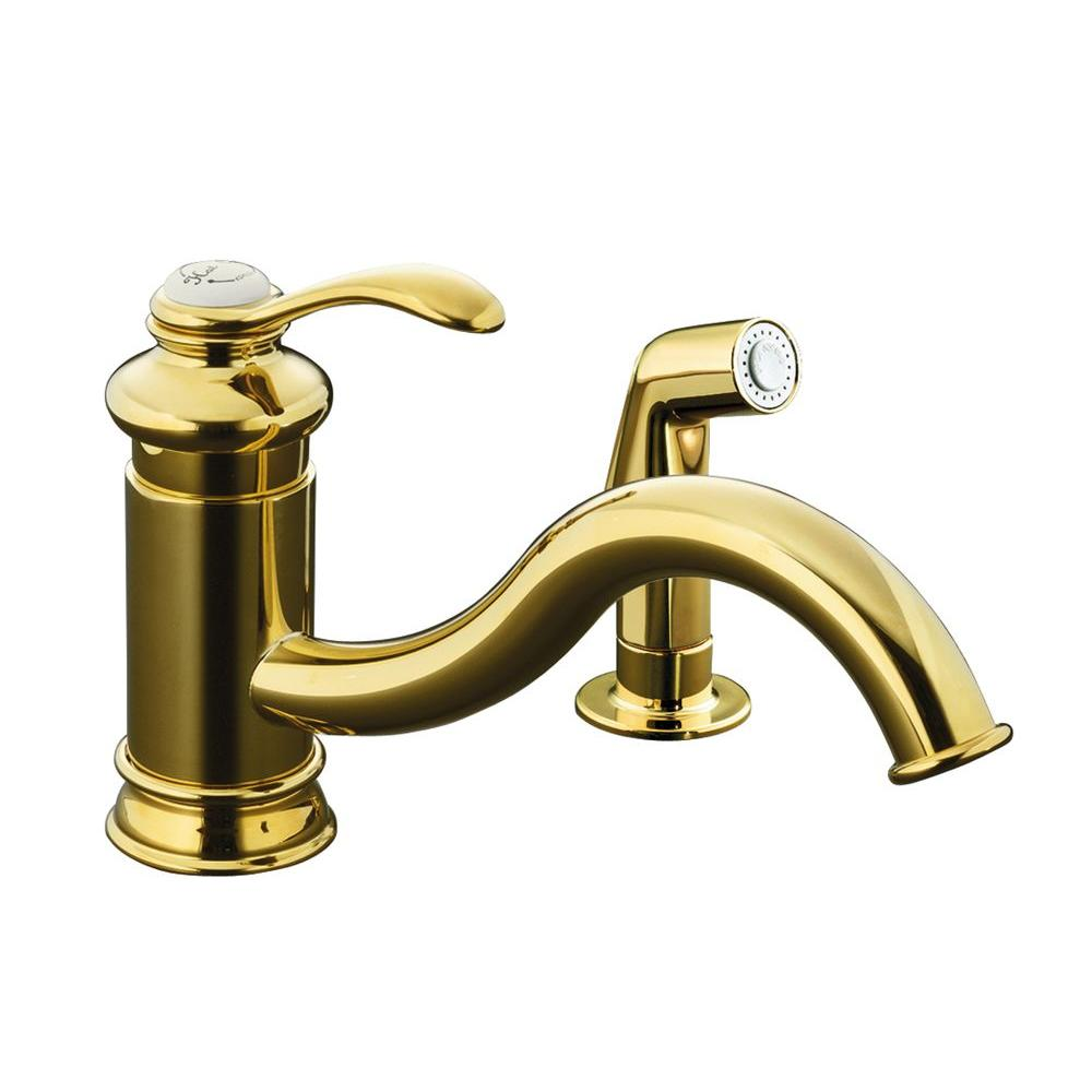KOHLER Fairfax Single Handle Side Sprayer Kitchen Faucet in Vibrant Polished Brass