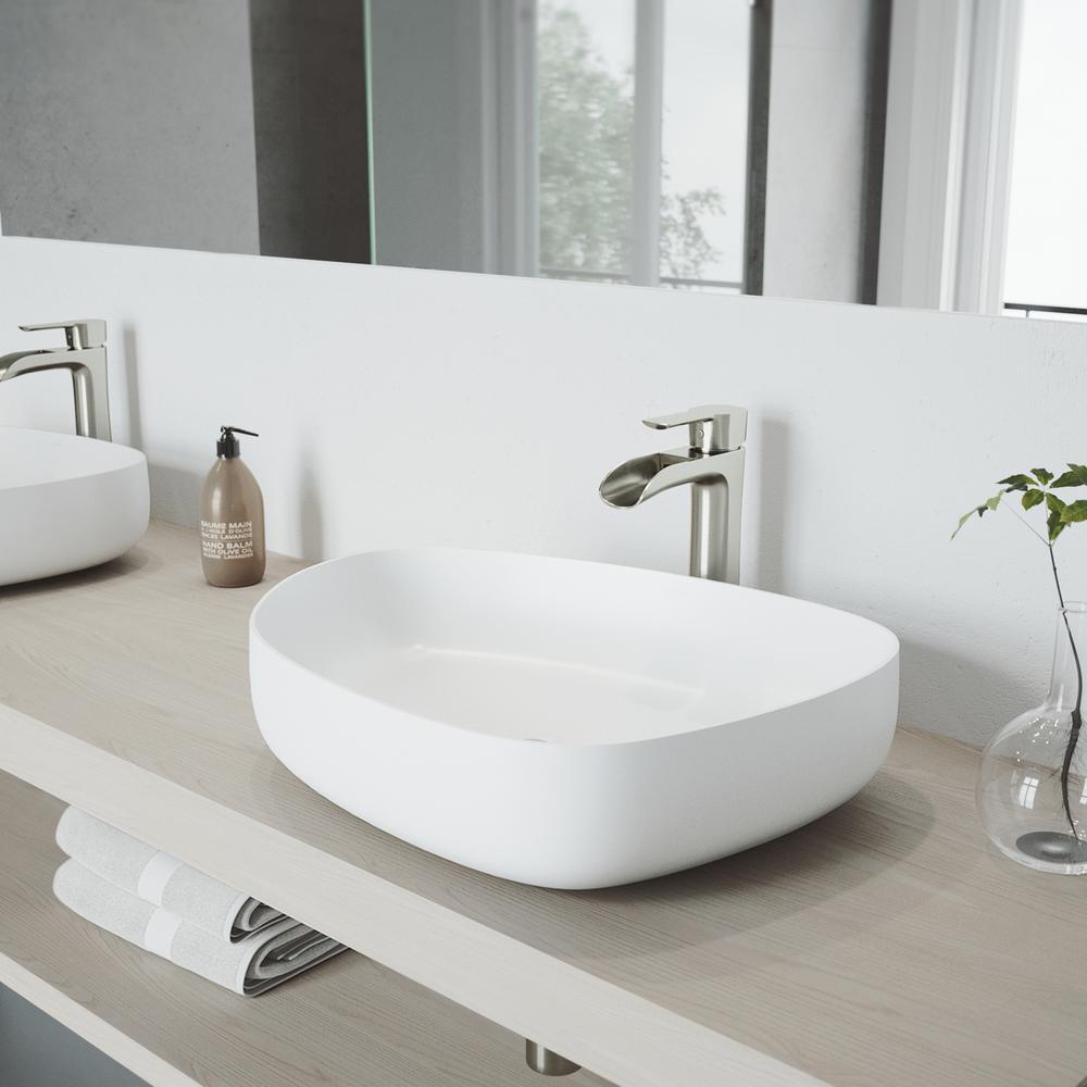 Vigo Matte Stone Peony Composite Specialty Vessel Bathroom Sink In White Vg04012 The Home Depot