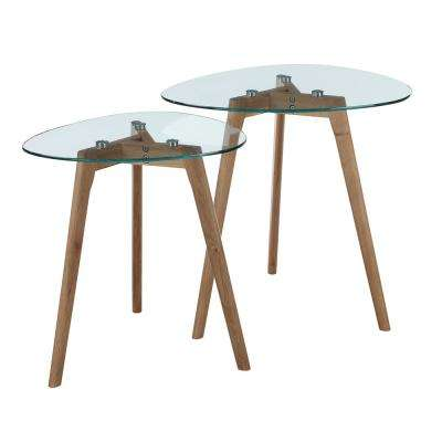 Clearview Natural with Glass Nesting End Tables (Set of 2)
