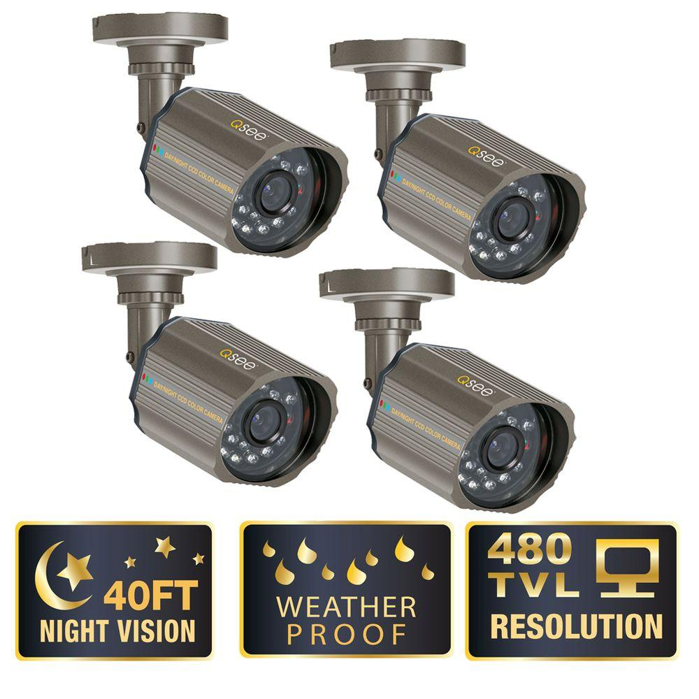 Q-SEE 420 TVL CCD Bullet Shaped Surveillance Cameras - (4 Pack)-DISCONTINUED