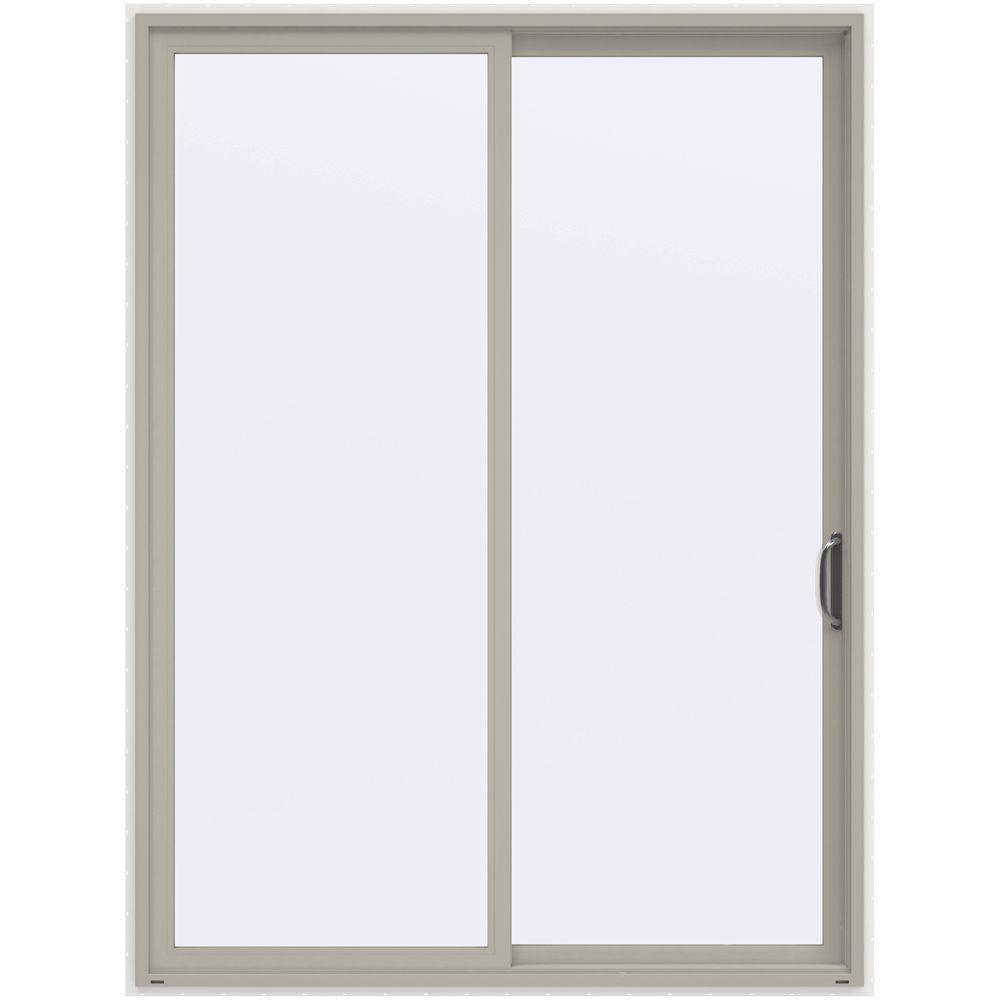 72 in. x 96 in. V-4500 Contemporary Desert Sand Vinyl Right-Hand Full Lite Sliding Patio Door w/White Interior