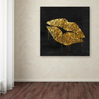 """35 in. x 35 in. """"Golden Lips"""" by Color Bakery Printed Canvas Wall Art"""