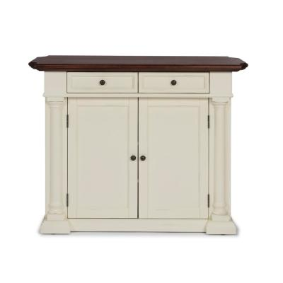 Beacon Hill White Solid Wood Top Kitchen Island