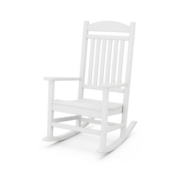 Polywood Grant Park White Plastic Outdoor Rocking Chair R105wh The Home Depot
