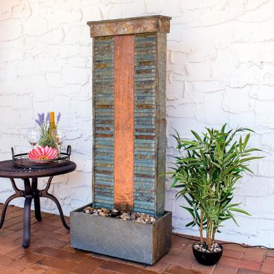 48 in. Rippled Slate Indoor/Outdoor Cascade Fountain with Copper Accents and Spotlight