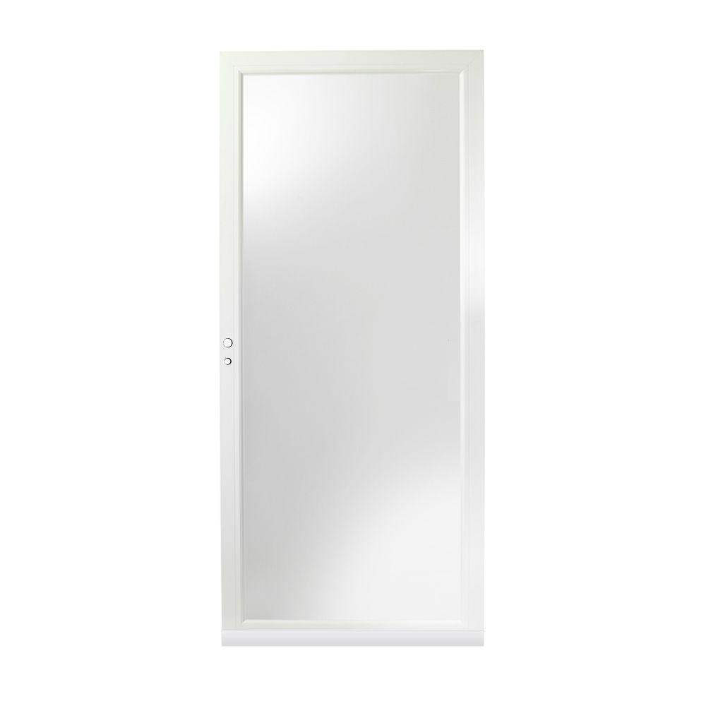 36 in. x 80 in. 3000 Series White Left-Hand Fullview Easy Install Aluminum Storm Door
