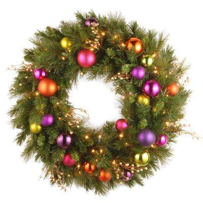 30 in. Battery Operated Kaleidoscope Wreath with 70 Warm White LED Lights