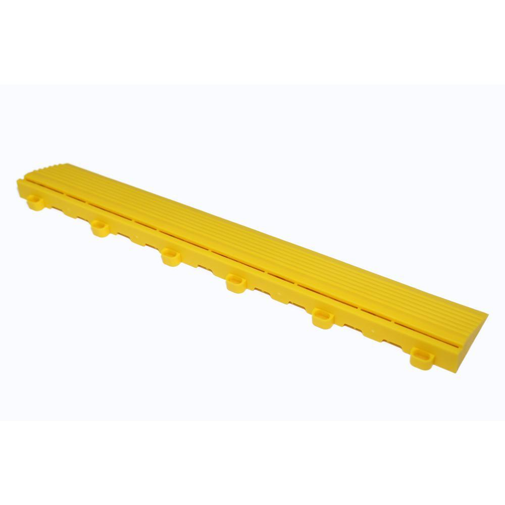 15.75 in. Citrus Yellow Looped Edging for 15.75 in. Swisstrax Modular Tile Flooring (2-Pack)