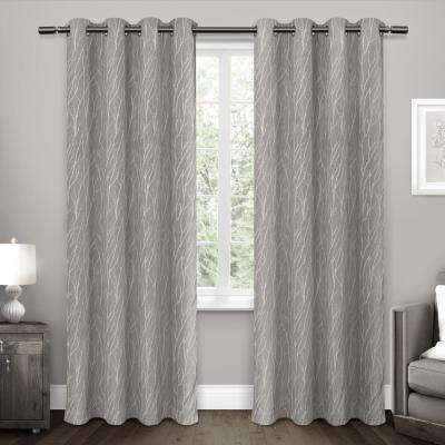Forest Hill 52 in. W x 96 in. L Woven Blackout Grommet Top Curtain Panel in Ash Grey (2 Panels)