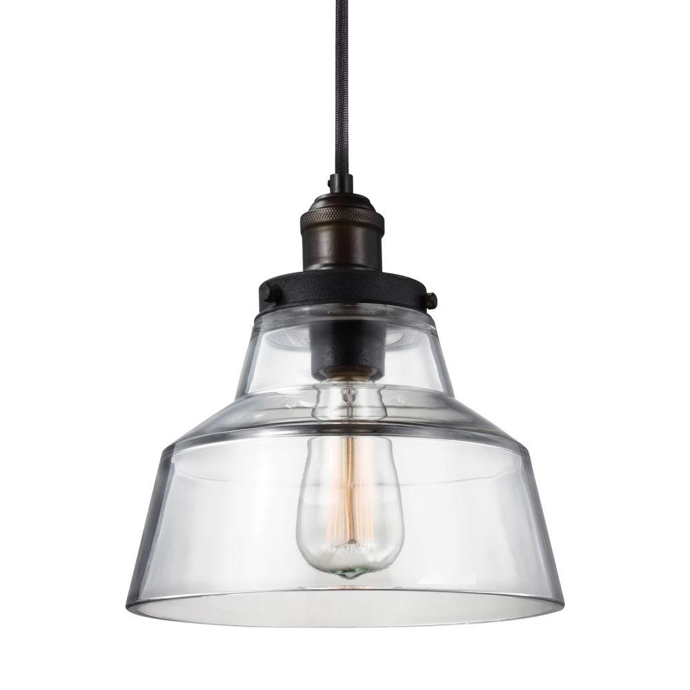 Feiss Baskin 10 In W 1 Light Painted Aged Brass Dark Weathered Zinc Rustic Clear Glass Bell Shaped Pendant With Cloth Cord